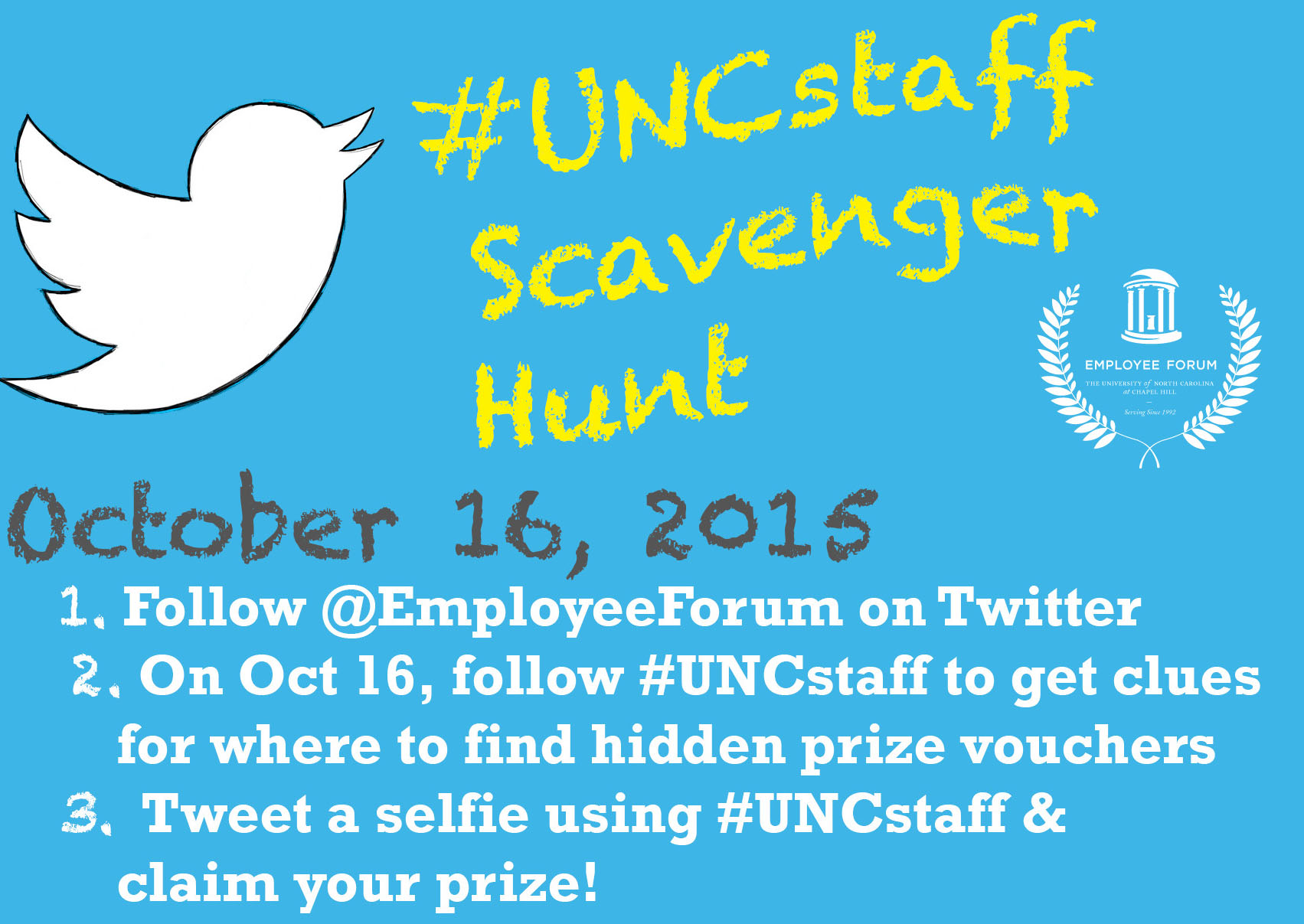 The annual #UNCstaff social media scavenger hunt is back!