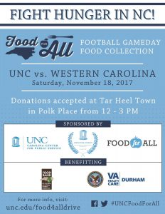 Flier for the Tar Heel Town Food Collection Event on November 18, 2017